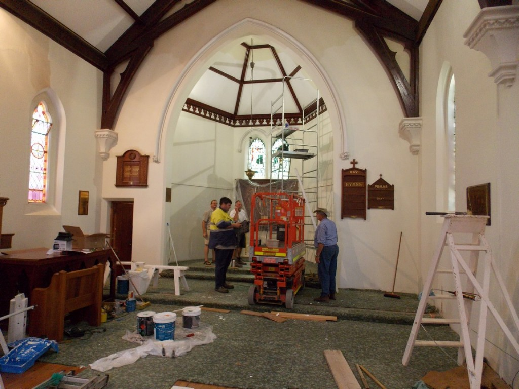 Painting the interior of Christ Church, Strathalbyn