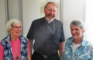 Beverley Stone and Sarah Driden with Bishop Michael Langrish.