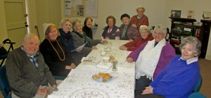 Members of the congregation sharing morning tea following the Wednesday morning Eucharist.